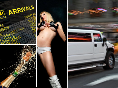 Pick-up all'aeroporto con Limousine Hummer e Stripper