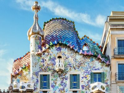 A shot of the emblematic roof of Casa Batllo in Barcelona.