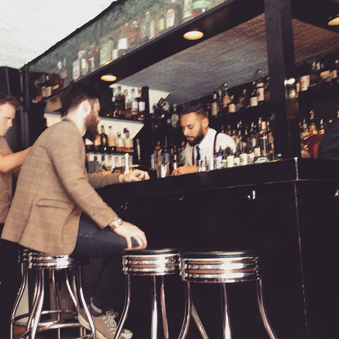A behind the scenes photograph of the bar when Josh caught up with the owner of the Old Fashioned bar in Barcelona.