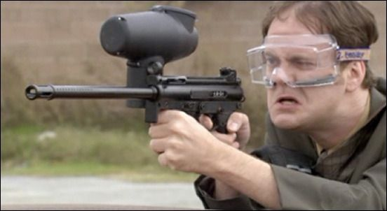 A photo of Dwight from The Office paintballing.