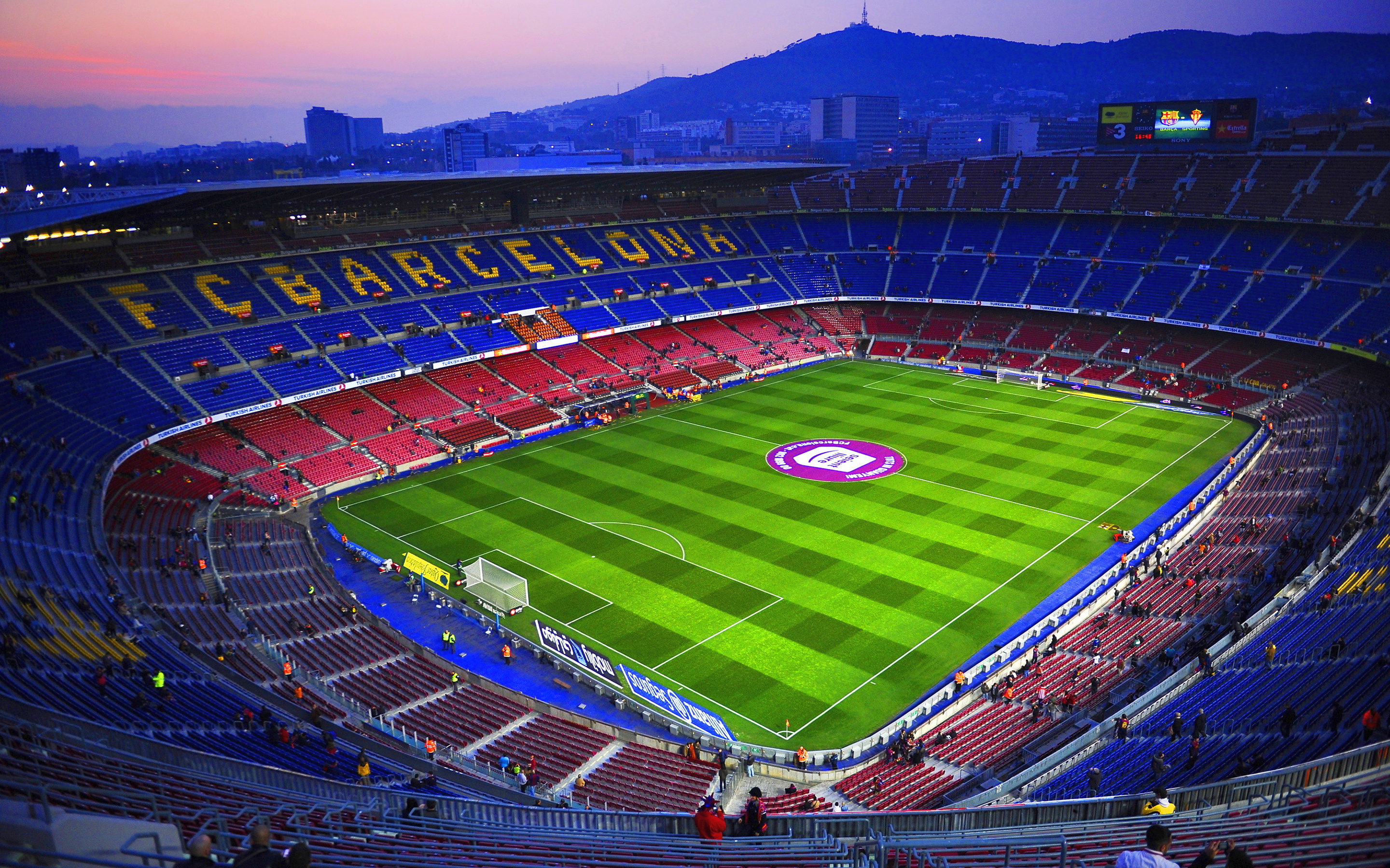 An aerial shot of the Camp Nou in Barcelona.